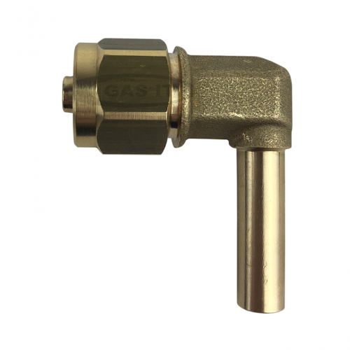 90° Standpipe to 8mm thermoplastic pipe fitting complete with nut and olive