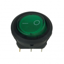 Mini Snap-In Rocker Switch - 3 Pin - Round - Green - 12 volt DC