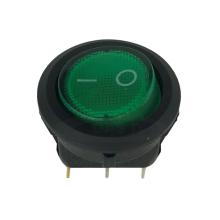Mini Snap-In Rocker Switch - 3 Pin - Round - Green - 12 volt DC