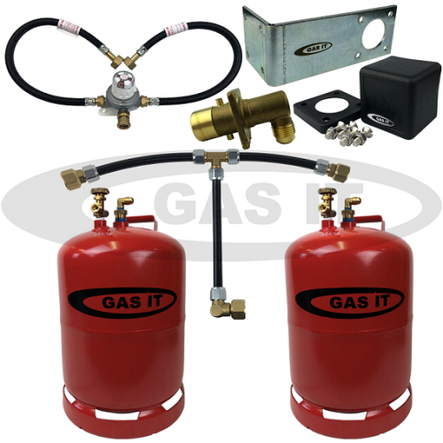 11kg TWIN Bottle Kit & EASYFIT Fill System Including Automatic Changeover & 0.45m Pigtails
