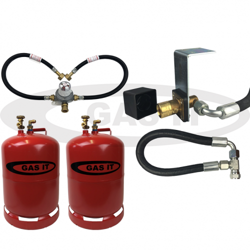 11kg Twin Bottle Kit & EASYFIT Fill System Including Automatic Changeover & 0.45m Pigtails With 2 X Bluetooth Gas Level Sensors
