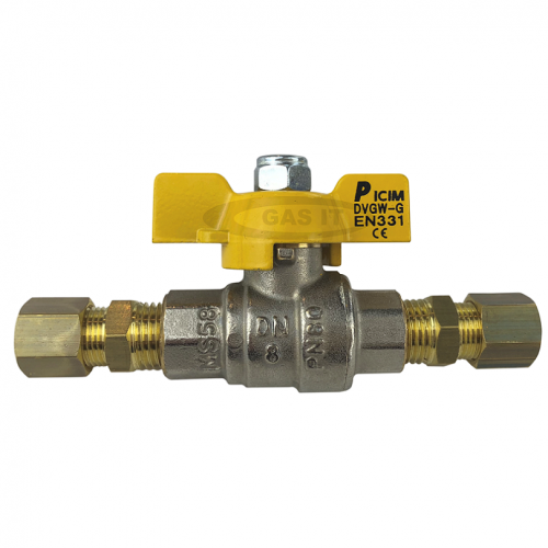 1/4'' 'T' Handle Ball Valve with 2 x 8mm Compression Fittings