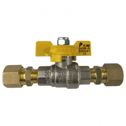 1/4'' 'T' Handle Ball Valve with 2 x 10mm Compression Fittings