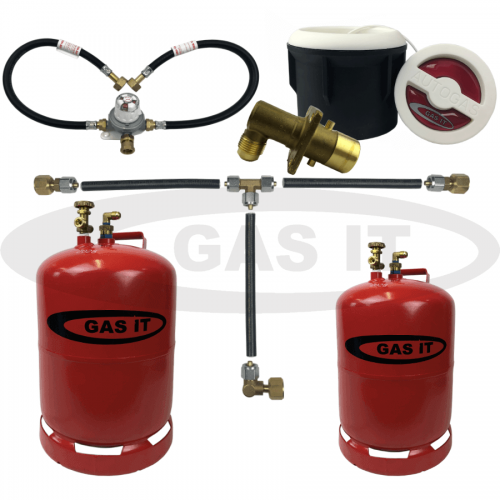 6kg & 11kg Twin Bottle Kit Including WHITE Body Mount Fillpoint System With Mechanical Gas Level Indicator