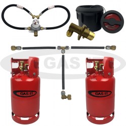 11kg TWIN Gen2 Bottle Kit & Body Mounted BLACK Fill System Including Automatic Changeover & 0.45m Pigtails
