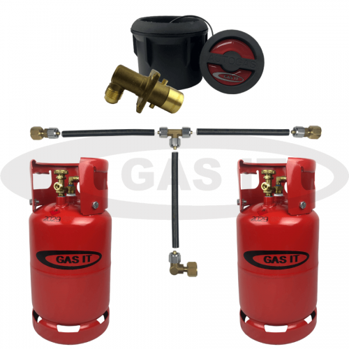 6kg Gen2 Twin Refillable Gas Bottle Kit Including Body Mount Fill Point System With Mechanical Gas Level Indicator