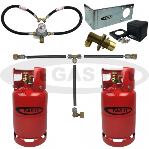 11kg Twin Gen2 Bottle Kit & EASYFIT Fill System Including Automatic Changeover & 0.45m Pigtails With Mechanical Gas Level Indicator
