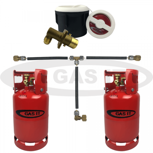 6kg Gen2 Twin Refillable Gas Bottle Kit including WHITE Body Mount Fill Point System With Gas Level Indicator Option.
