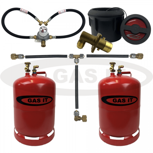 6kg TWIN Bottle Kit & Body Mounted Fill System Including Automatic Changeover & 0.45m Pigtails With Mechanical Gas Level Indicator