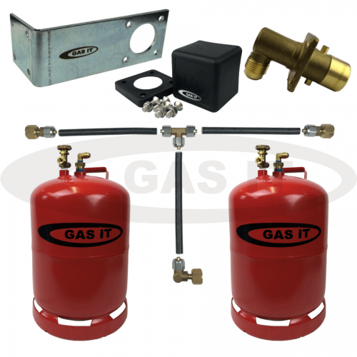 11kg Twin Bottle Kit & EASYFIT Fill System With 2 x Bluetooth Gas Level Sensors