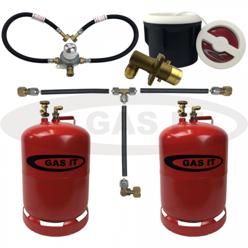 6kg Twin Refillable Gas Bottle Kit including WHITE Body Mount Fill Point System With 2 x Bluetooth Gas Level Sensors