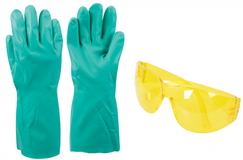 Nitrile Gauntlet Gloves & Safety Glasses Kit